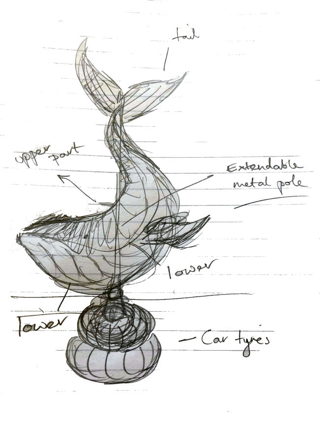 Sketch of the planned Whale sculpture
